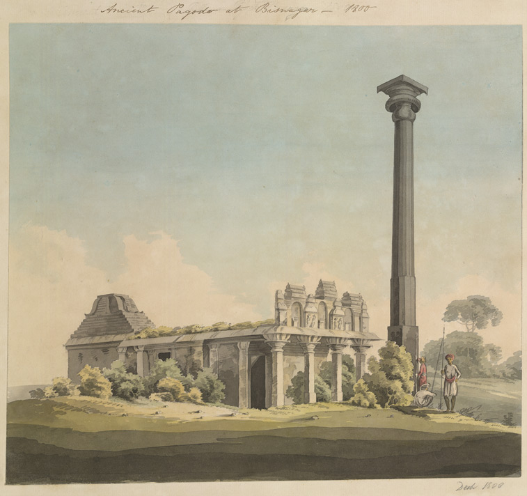 Temple and pillar at Vijayanagara. December 1800